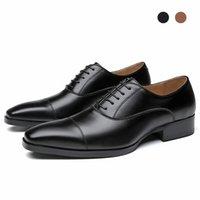 Oxford Genuine Leather Black Bridegroom Designer Handmade Dress Best Men Shoes Polka Dot Original Shoes for Men