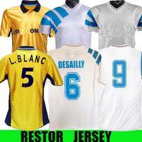 Retro Retro Olympique de Marseille 1990/91 Fussball Jerseys Papin Boli Kantona Waddle Pelé Vintage Kit Classic Shirt