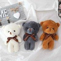 10 pcs 12cm Um laço de brinquedo de pelúcia ursinho urso boneca pingente keychain pp algodão macio cardilhado ursos brinquedo boneca brinquedo brinquedo presentes y0726