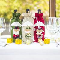 Decorações de vinho de juta Xmas Garrafa de champanhe Capas Saco Jantar sacos de cordão Decoração de Natal Papai Noel enfeites fwf8692