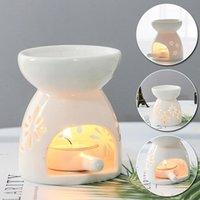 향기 램프 세라믹 촛불 아로마 디퓨저 가정용 에센셜 오일 굽기 홈 거실 장식 벚꽃