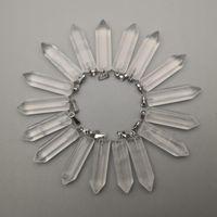 Pendenti Moda in pietra naturale di buona qualità Collane di cristallo di buona qualità per la realizzazione di gioielli parti del punto di fascino 36pcs / lot all'ingrosso