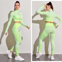 Women's Tracksuits Seamless Women Yoga Sets Female Sport Gym Suits Wear Running Clothes Sports Bra Elastic Leggings High Waist Training Pants MRR6