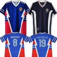 Jersey de soccer rétro de la Coupe du Monde de Yougoslavie 1990 1998 1999 2000 Accueil Mijatovic Savicevic Nº 9 Milosevic N ° 10 Stojkovic Vintage Classic Shirts Tops Qualité