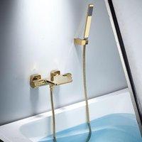Tuqiu 목욕 및 샤워 세트 벽 마운트 골드 욕조 수도꼭지, 냉담한 검은 욕조 샤워 믹서 욕실 탁아함 놋쇠