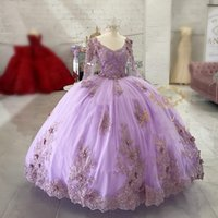 Lilac lavender Quinceanera Dresses Lace Applique Girls 15 Years Birthday Dress Mexican Prom Gown 2021 Vestidos De XV Años