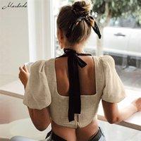 Macheda Pure Colred Рукав квадратный воротник лук ремешок урожая топ женская повседневная твердая футболка летняя уличная одежда Tee zipper рубашка 210311