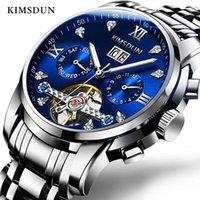 Saatı Kimsdun Reloj Hombre Su Geçirmez İş Altın İzle Orologio Automatico Uomo Tourbillon Erkekler Mekanik Saat
