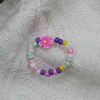 المجوهرات اليدوية بالجملة حلقة اليدوية على شكل الأرز الخرز الخرز الوترية الخرز حلقة مختلطة لون زهرة صغيرة اللون المنسوجة