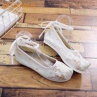 Veowalk ciervos bordados mujeres suave lienzo traje zapatos planos correa tobillo señoras comodidad plataformas de algodón retro zapatos chinos comfort m0s0 #