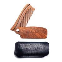 Blue Zoo Natural Beard Sandalo Pieghevole piegatura pettine Combs Barbuto Uomo Grooming Moda Maniglia per capelli Kit per la cura dei capelli