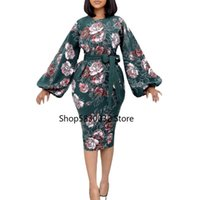 Ethnic Clothing African Dresses For Women Summer Long Sleeve Printing Plus Size Knee-length Dress Clothes
