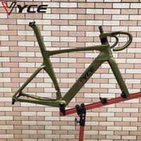 Vyce 육군 녹색 HQR37- 디스크 브레이크 탄소 자전거 프레임 사이클링 도로 자전거 경주 프레임 넷 핸들 바
