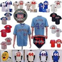 Hank Aaron Jersey Baseball 715th 40th Hall of Fame Patch 1963 1974 Creme Zipper Branco Cinza Pulôver Navio Vermelho Vintage Tamanho S-3XL
