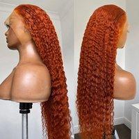 26inch Deep Wave Ingwer Orange Spitze Frontal Synthetische Haarperücke Für Frauen Vorplued Hitzebeständige tägliche Perücken 180% Dichte Curly