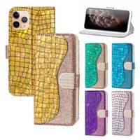 Flip Stand Wallet Card Slots Leather Case Glitter Bling Phone Cases Cover For iphone 11 12 13 Pro XR XS Max 7 8 Plus 13Pro Samsung Galaxy Note S9 S10 S20 S21 Ultra