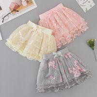 Niñas princesa falda 2021 niños flor falbala bowknot mini faldas dulces niños bordado tul tutu falda chica ropa C6969