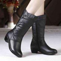 Boot Women's Mother Female Ladies Leather Shoes s Botas Knee High Zipper Winter Warm Plush Mid Calf Plus Size Mid calf Snow 0930