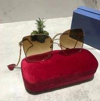 Dernières lunettes de soleil à la mode Femmes en ligne Célébrités Style de célébrités Chaîne de chaîne Unisexe Big Métal Cadre carré Plage Sun Verres avec boîte