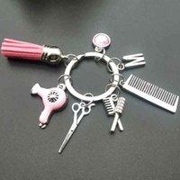 Nuova A-Z Acconciatura regalo fascino tassel portachiavi retrò gioielli mini rassissimi per capelli asciugacapelli pettine keychain manuale fai da te