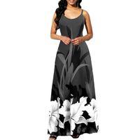 Casual Dresses Sling Print Robes Halter Open Back Sleeveless Women's Summer Dress 2021 Backless Floor-length V-neck Camisole Female