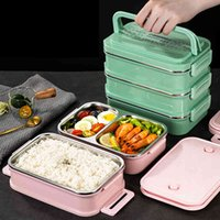 Multi-layer Big Thermal Lunch Thermos Container Stainless Steel Food Storage Containers Bento Box Japanese Style