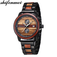 Armbanduhren shifenmei holz watch herrenuhren top sport chronograph quarz männer militär uhr holz armbanduhr männlich
