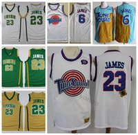 Mens 2002 Vintage Stain Vincent Mary High School Irish Lebron James Basketball Jerseys Move Tune Squad Space Jam 2021 Белые сшитые рубашки S-XXL