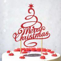 Другие праздничные принадлежности для вечеринок С Рождеством С Рождеством с шляпной торт Топпер Флаги Антилеры Дерево Кекс Топперы Украшения Счастливого года Выпечки FWD9490
