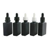 Black Square Flat glass pipette dropper bottle 1oz black white cap glass e liquid container 30ml dropper bottles 500pcs