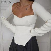 Mnealways18 Blouse blouse blanche asymétrique Femmes Sexy Manches longues Modycon noire Dames Basic Knitwear Tops Mode
