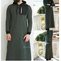 Ethnic Clothing Muslim Dress Islamic Men Pakistan Robe Saudi Arabia Hodded Dubai Long Sleeve Solid Abaya Male Thobe Kaftan