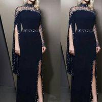 2021 Зеевой шейки ВМФ синие вечерние платья носить Kaftan Dubai Crystal Crystal Crystal Crysted The Bean Dead Willeves Party Preams Modest Robe De Soiree Split Prom Dress