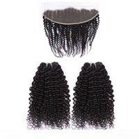 Tiefes lockiges menschliches Haarbündel mit Spitzenverschluss Frontal Rohmaterial Brasilianischer jungfräuliches Haar Nerz Nadelhaut ausgerichtetes menschliches Haar-Anbieter