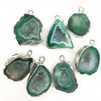 Новый натуральный камень пендинценна, бразильские гальванические платины, обрезные ломтики открытые синие агаты Geode Drusy Druzys оптом G0927