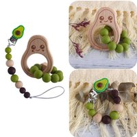 Bpa Free Silicone Beads Baby Pacifier Chain Beech Wooden Avocado Bracelet Teether Nipple Dummy Clip Holder Teething Molar Toys