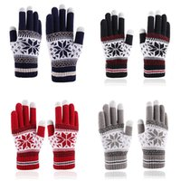 Five Fingers Gloves Unisex Winter Ribbed Knitted Full Fingered Women Men Classic Basic Thicken Lining Mittens Thermal Wrist