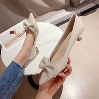High heels women's autumn pointed shallow mouth thin heels women's shoes super fiber soft leather middle heel comfortable single