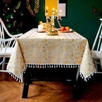 Table Cloth Bronzing Tablecloth Rectangular Linen Cotton Kitchen Dining Tassel Mat Cover Garden Activity Decoration