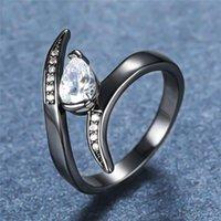 Панк-мужское женское кристалл капель воды очарование 14kt черное золото цветные обручальные кольца для женщин изысканные белые циркона обручальное кольцо