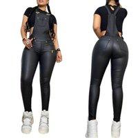 Sling Rompers Fashion Tendance Skinny Strap longue Pantalons Jumpseuits Designer Femme Femme Automne Nouveau Sexy Casual Slim NightClub Rompers Femmes Pu cuir