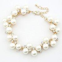Kobiety Bracety Nowy Design Luksusowy Urok Kryształ Cubic Cyrkon Symulowane Pearl Koraliki Bransoletka Dla Kobiet Biżuteria