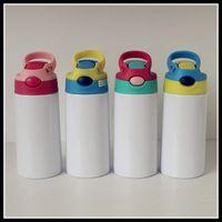 DIY التسامي 12oz Watter زجاجة فارغة مستقيم بهلوان الفولاذ المقاوم للصدأ سيبي كوب 350 ملليلتر القش أكواب نوعية جيدة للأطفال 80 S2