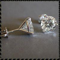 Accessori per gioielli Femminile di lusso 6/7/8mm Round Lab Diamond Real 925 Orecchini in argento sterling 925 per le donne Piccola vite Orecchini per borchie 134 U2