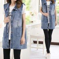 Long Section Sleeveless Denim Waistcoat Vest Female Spring And Summer New Large Size Ladies Fashion Coat