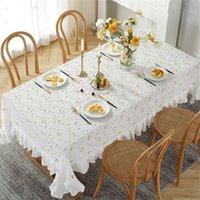 Mode broderi bordduk små blommor lotus lövkant tvättbara borddukar hushåll ihålig ut bordsduk hem dekoration