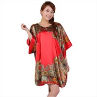 Plus Size Faux Silk Robe Women Sleepwear Bath Gown Nightgown Pijama Mujer Summer Sleepshirts Style Printed Zh597s