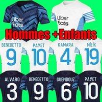 마르세유 축구 유니폼 Olympique DE 21 22 OM 2021 2022 Maillot Foot Cuisance Thauvin Benedetto Kamara Payet 축구 셔츠 남성과 어린이 세트 유니폼
