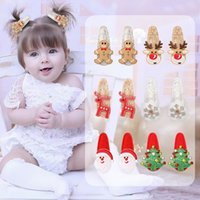 Christmas Hair Accessories Baby Girl Clips With Deer Snowflake Snowman Barrettes Hairpin Sequin Head Accessory M3857