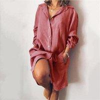 Casual Dresses Linen Solid Woman Dress Autumn Straight Long Sleeve Shirt Turn-down Collar Button Mini For Women 2021
